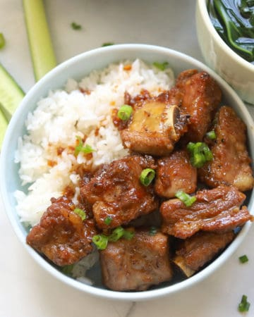 Plate pork spare ribs with rice