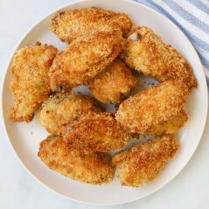Plate of panko chicken wings