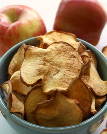 Bowl with apple chips