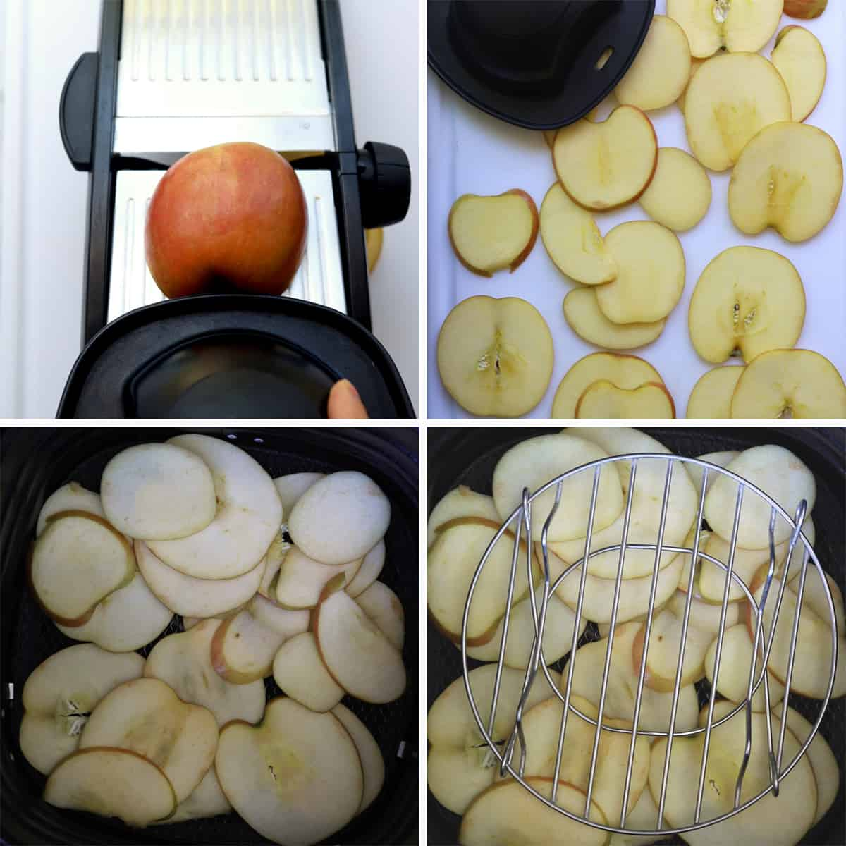 Grid with pictures, how to make apple chips. First grid with mandoline and apple. Second grid with apple slices on cutting board. Third grid with apples in air fryer basket. Fourth grid with trivet on top of apples.