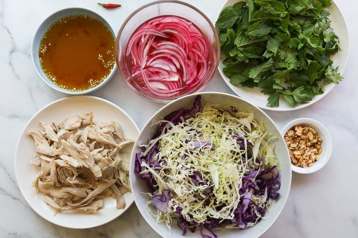 ingredients: fish sauce in bowl, sliced red onion in vinegar, mint, cilantro, shredded chicken, bowl with sliced red and green cabbage, crushed peanuts