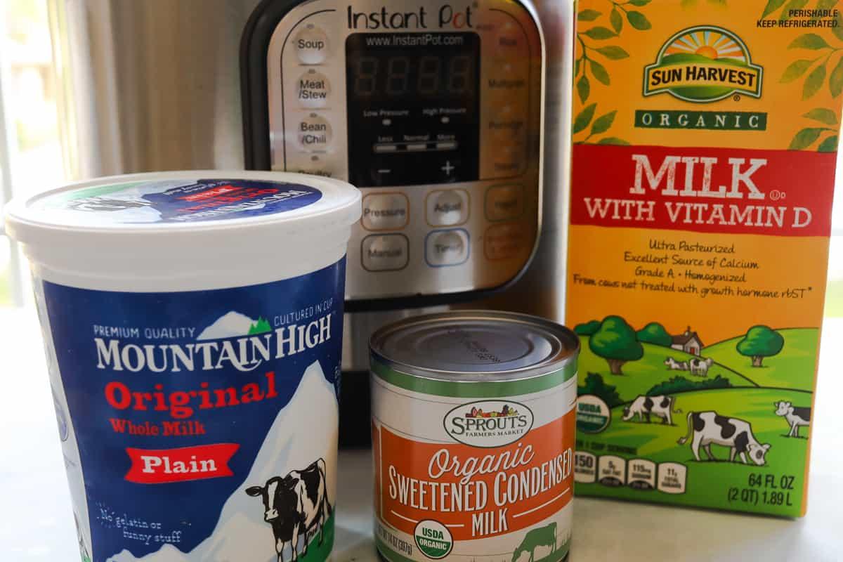 pressure cooker, carton milk, carton yogurt, can condensed milk.
