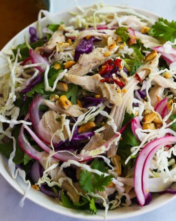 bowl with cabbage, mint, cilantro, shredded chicken and red pepper, peanut garnished