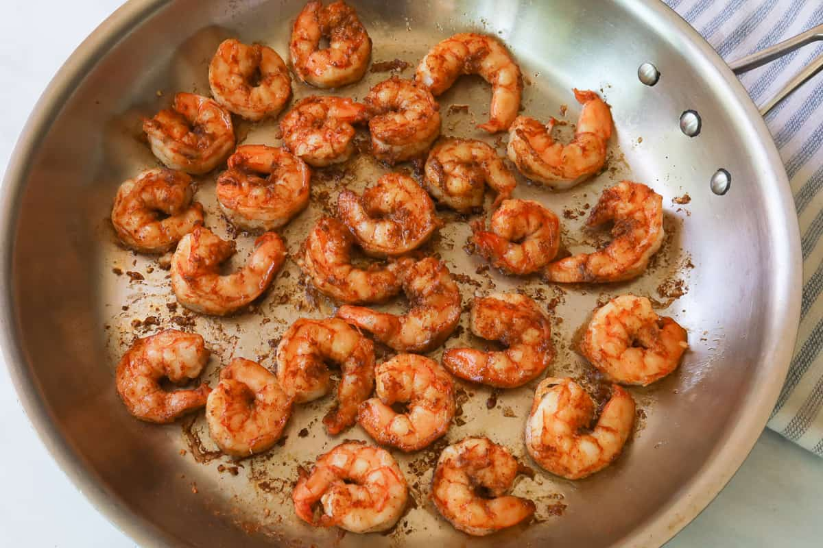 Big pan with cooked shrimp