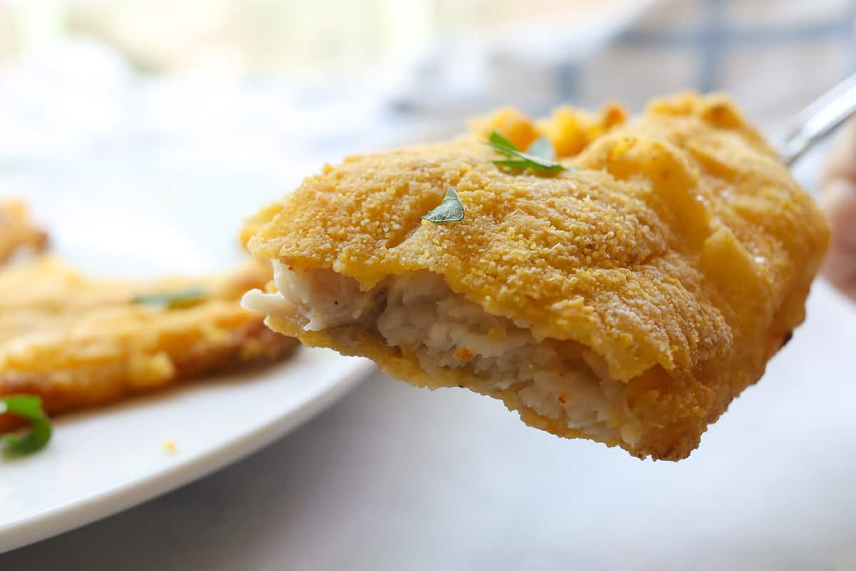 closeup image of cooked fish with golden crust
