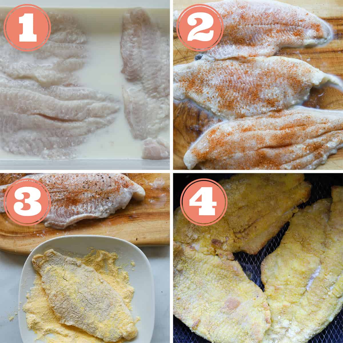 4 grid picture. first grid fish in milk. Second grid fish fillets seasoned. Third grid, fish fillet in cornmeal. Fourth grid, fish fillets in basket.