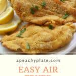 plate with 3 golden crusted fish fillets. lemon garnish.