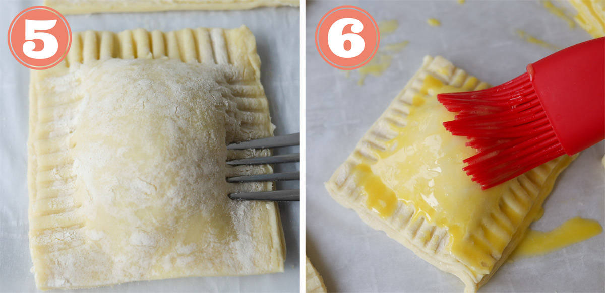 2 Boxes, instructions images. Square 1 fork imprinting the edges of a square pastry. Box 2, red brush, brushing egg yolk onto pastry.