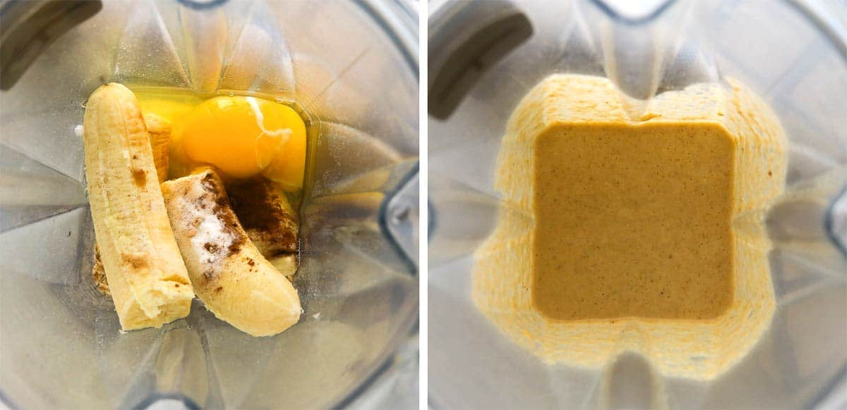 Side by side photo grid. First grid with banana, eggs and seasoning in blender. 2nd photo of ingredients blended in blender.