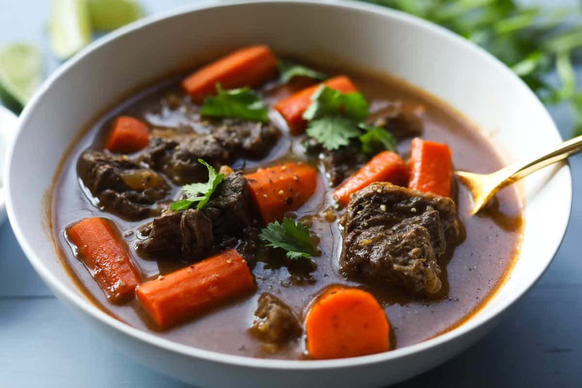 Closeup of a bowl with beef and carrot stew. Garnished with cilantro leaves.