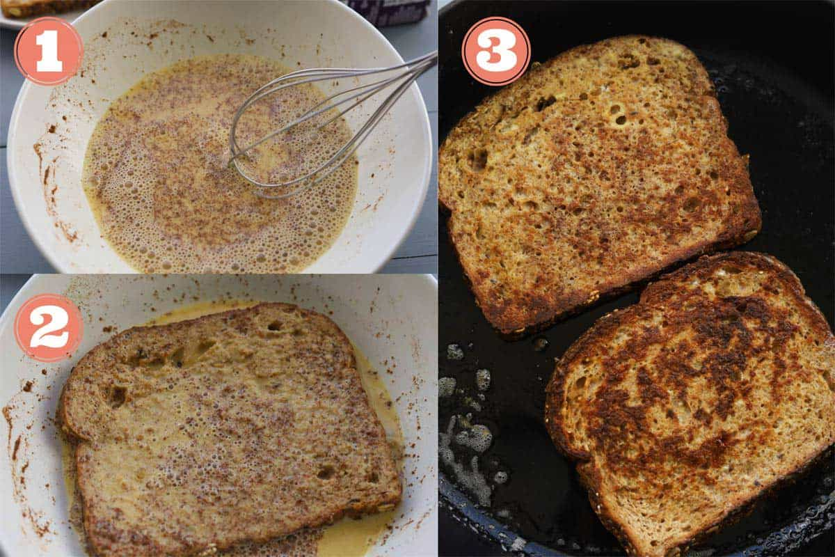 Grid photo. First grid of whisk mixing eggs and seasoning. Second grid of slice of bread soaked in egg batter. Third grid of two slices of bread in a pan.