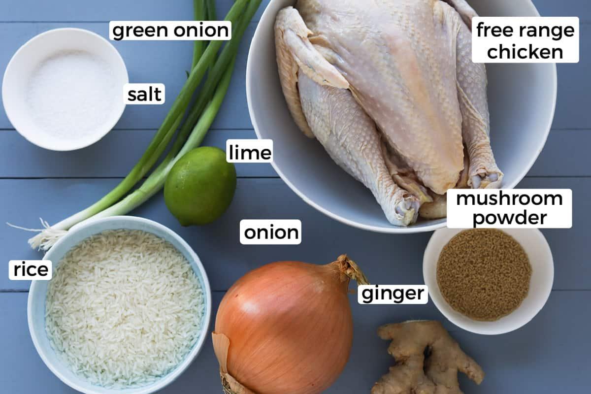 Ingredients on a board, salt, green onion stalk, lime, onion, rice grains, mushroom seasoning and free range chicken.