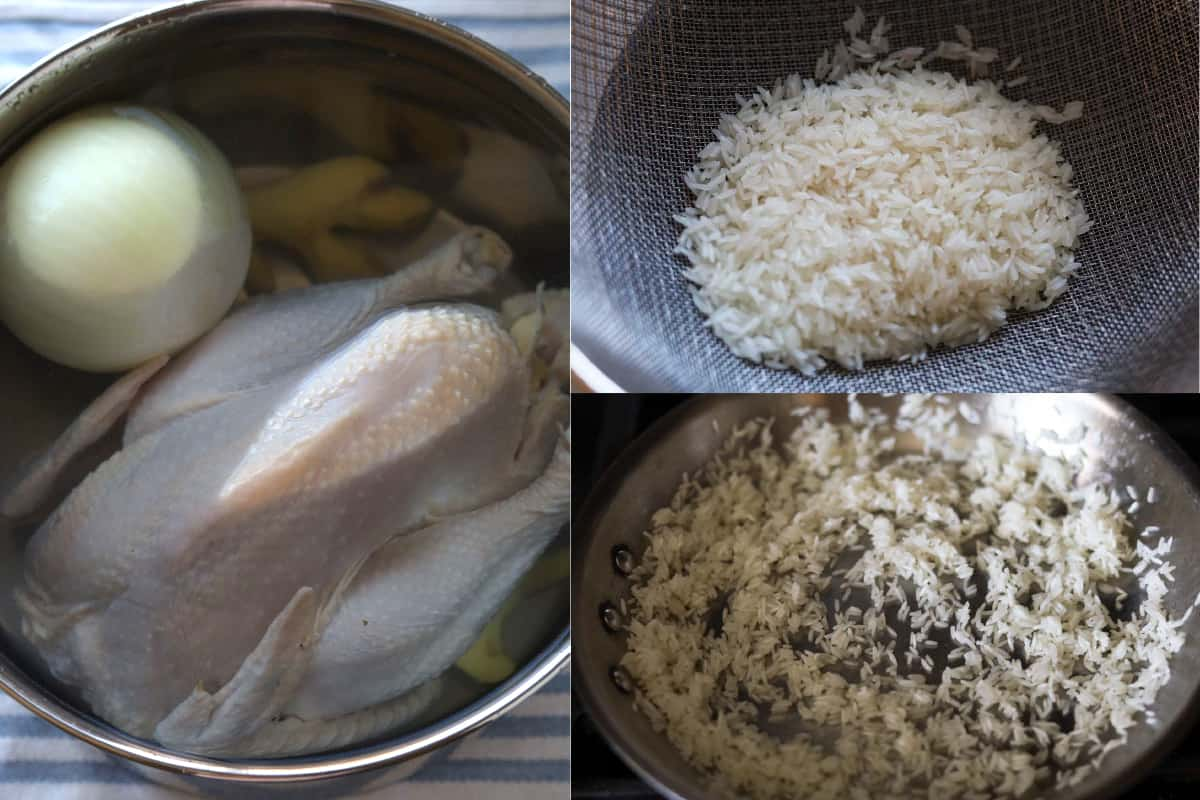 Three image collage. Left image pot of water with whole chicken, onion and ginger. Upper right image of rice in colander. Bottom right image of rice sautéing in pan.