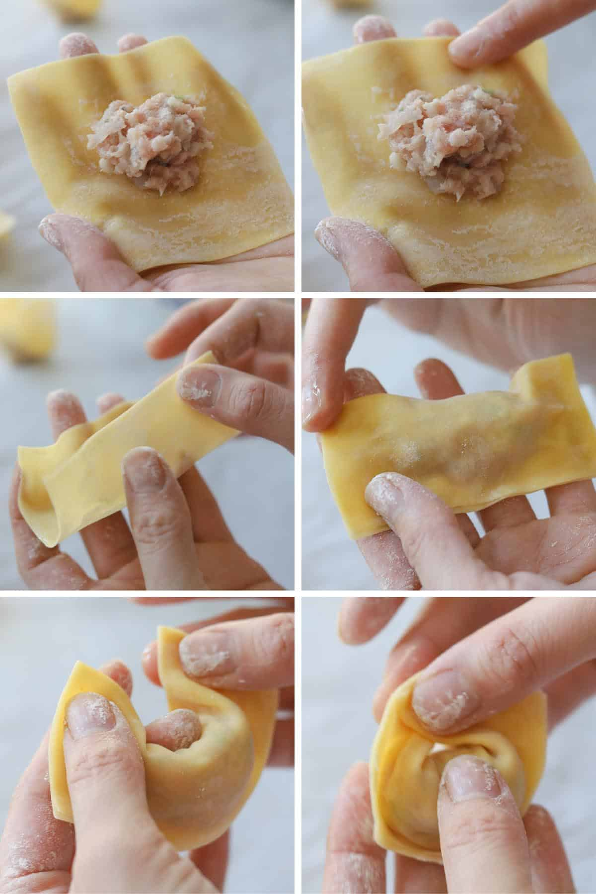 Collage image of step by step directions of how to fold a wonton.