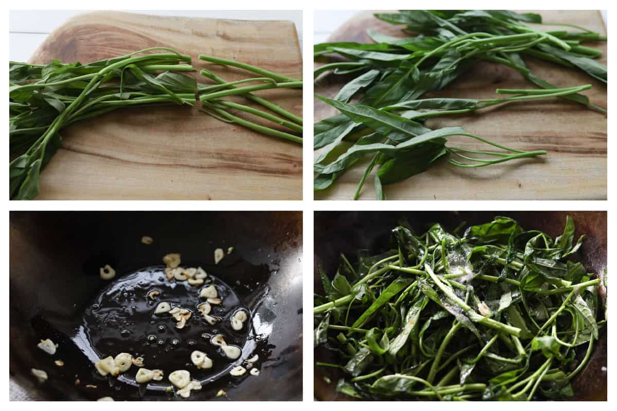 Top left image of a bunch of morning glory leaves with stem cut off. Top right image of morning glory, stem cut. Bottom left image of garlic in a wok. Bottom right image of morning glory in a wok.