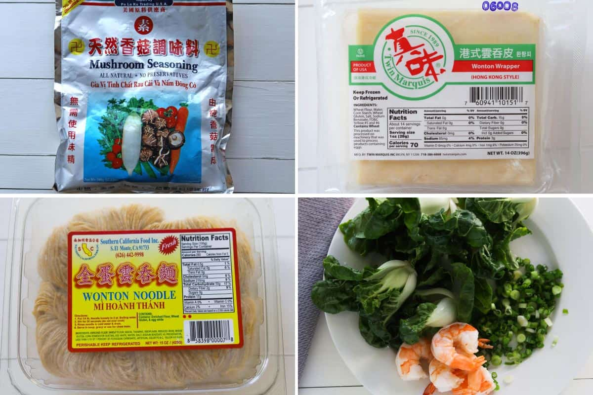 Collage image. Top left image of package of mushroom seasoning, bottom left image of egg noodles package. Top right image of wonton wrappers, bottom right image of plate of bokchoy, green onions and cooked shrimp.