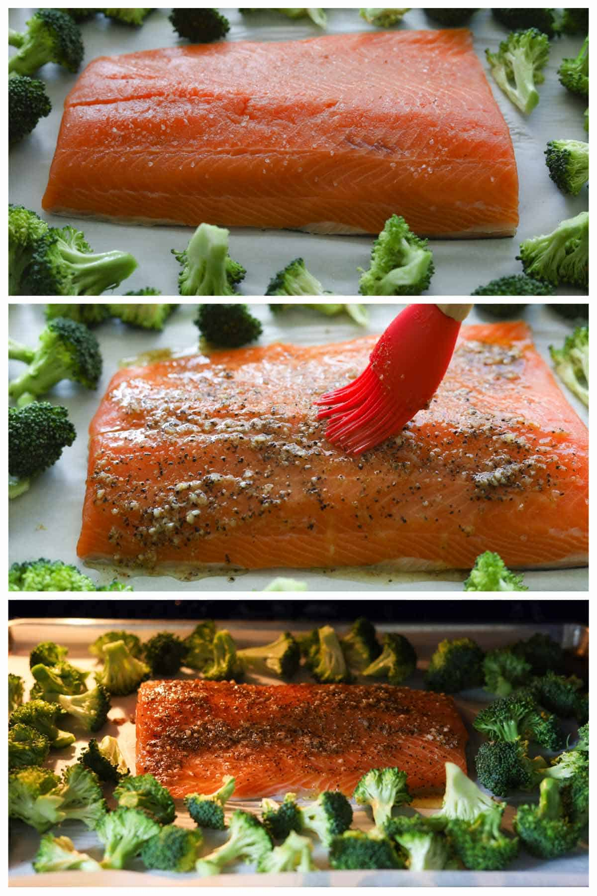 Grid image. Top image of uncooked salmon and broccoli on a roasting pan. Middle image of a brush brushing seasoning on to salmon fillet. Bottom image of salmon pan roasting in oven.
