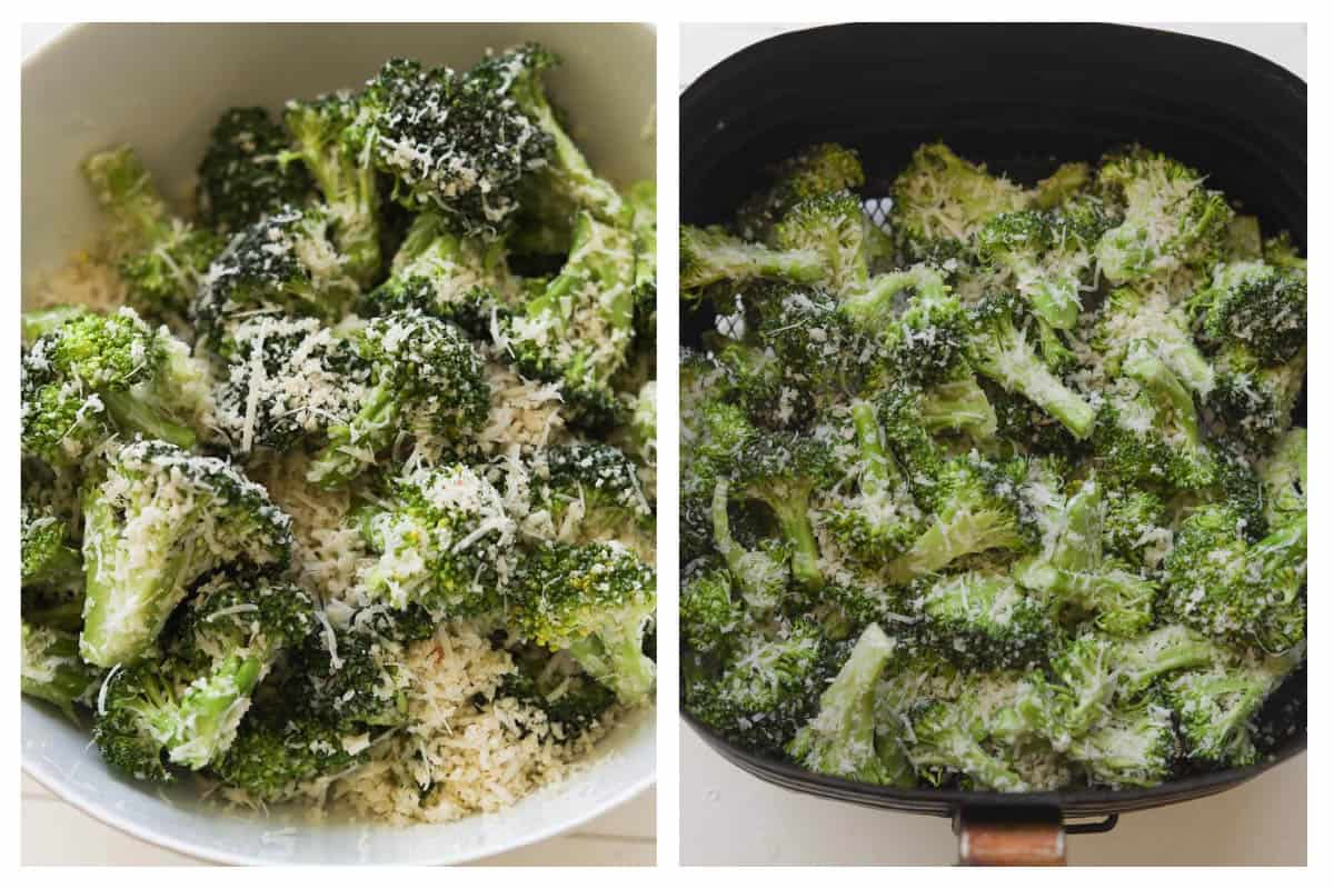 Collage image. Left image of broccoli with grated parmesan and panko crust. Right image of broccoli with parmesan and panko in an air fryer basket.