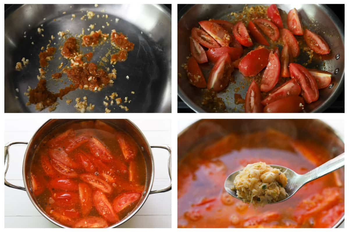 Grid image. Top left image of aromatics in a pan. Top right image of tomato wedges in a pan. Bottom left image of tomatoes in a broth. Bottom right image of crab mixture up close.