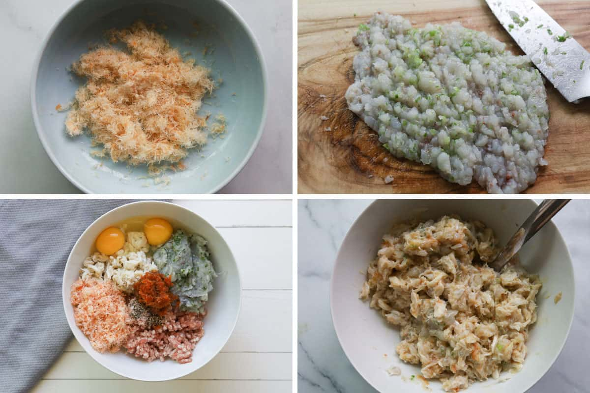 Grid image. Top left image of shredded dried shrimp. Top right image of minced shrimp with green onions. Bottom left image of ingredients for crab rieu mixture in bowl. Bottom right image of mixed ingredients for rieu in a bowl.
