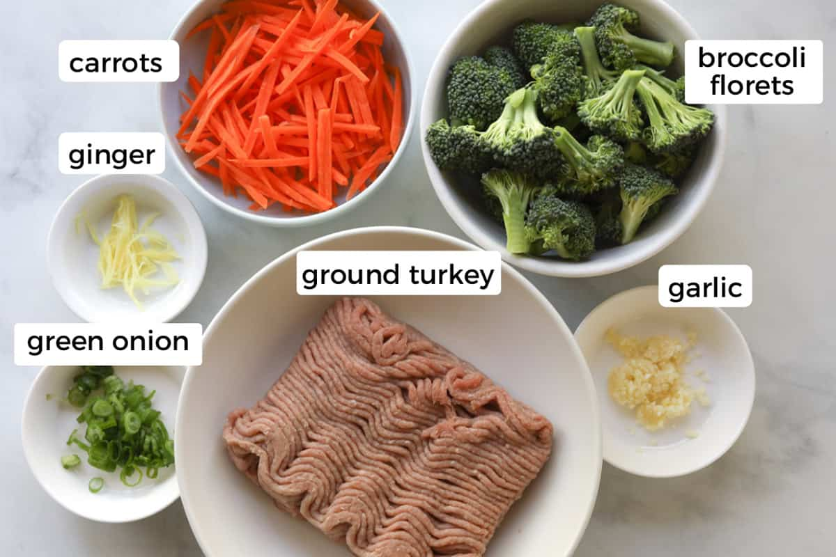 Image of ingredients on table. Sliced green onions, sliced ginger, minced garlic, ground turkey meat, broccoli florets and carrots.