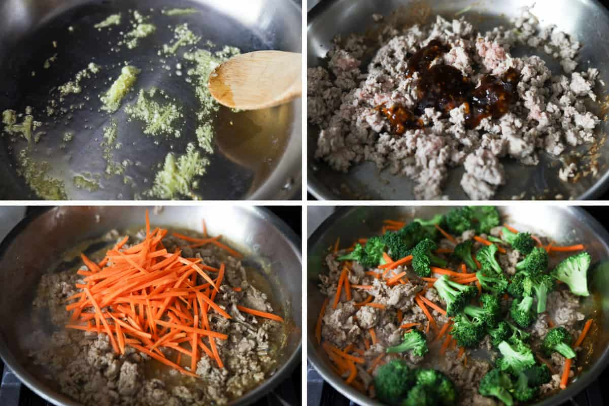Grid image. Top left image of garlic and ginger in a pan. Top right image of ground meat and sauce in a pan. Bottom left image of carrots and meat in pan. Bottom right image of ground meat and vegetables in pan.