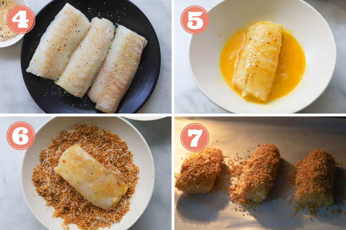 Collage of how to make panko breaded cod