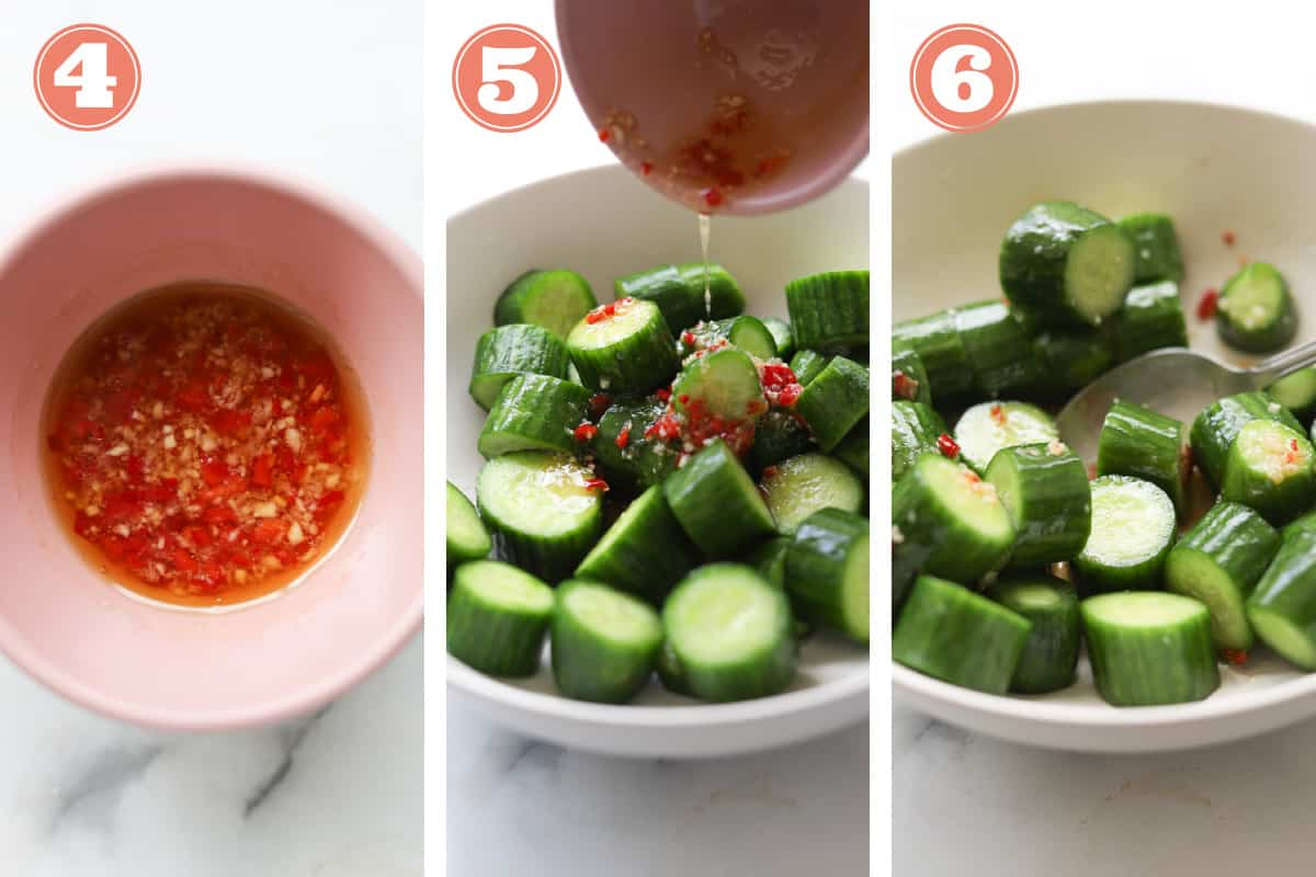 How to image picture of making chili sauce and dressing cucumber salad.