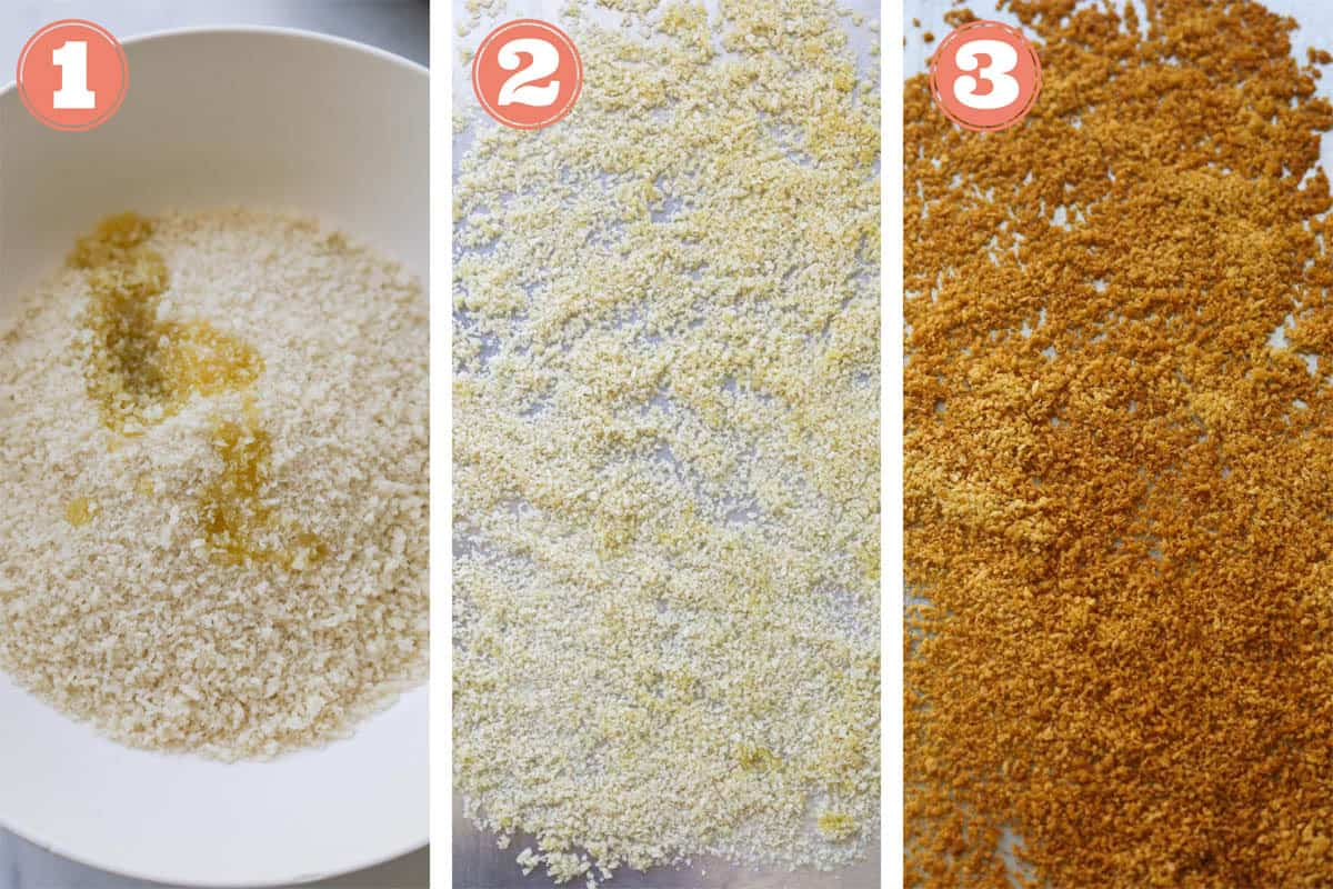 Collage image of baking panko breadcrumbs.
