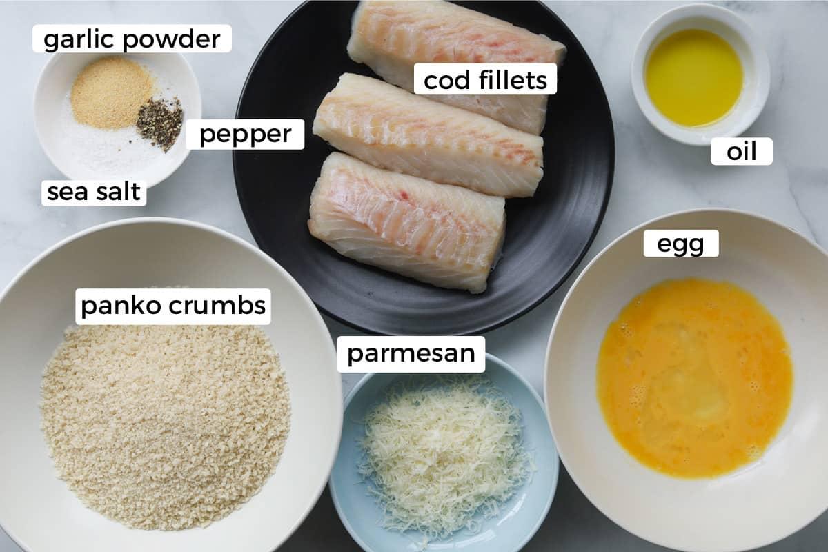 Ingredients for baked encrusted cod