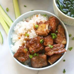 Pork spare ribs rice bowl.