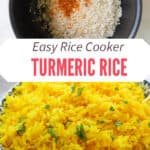 Collage image. Top image of rice in rice cooker. Bottom image of yellow rice in a bowl.
