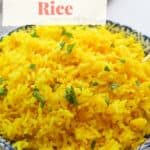 Yellow rice in a bowl.
