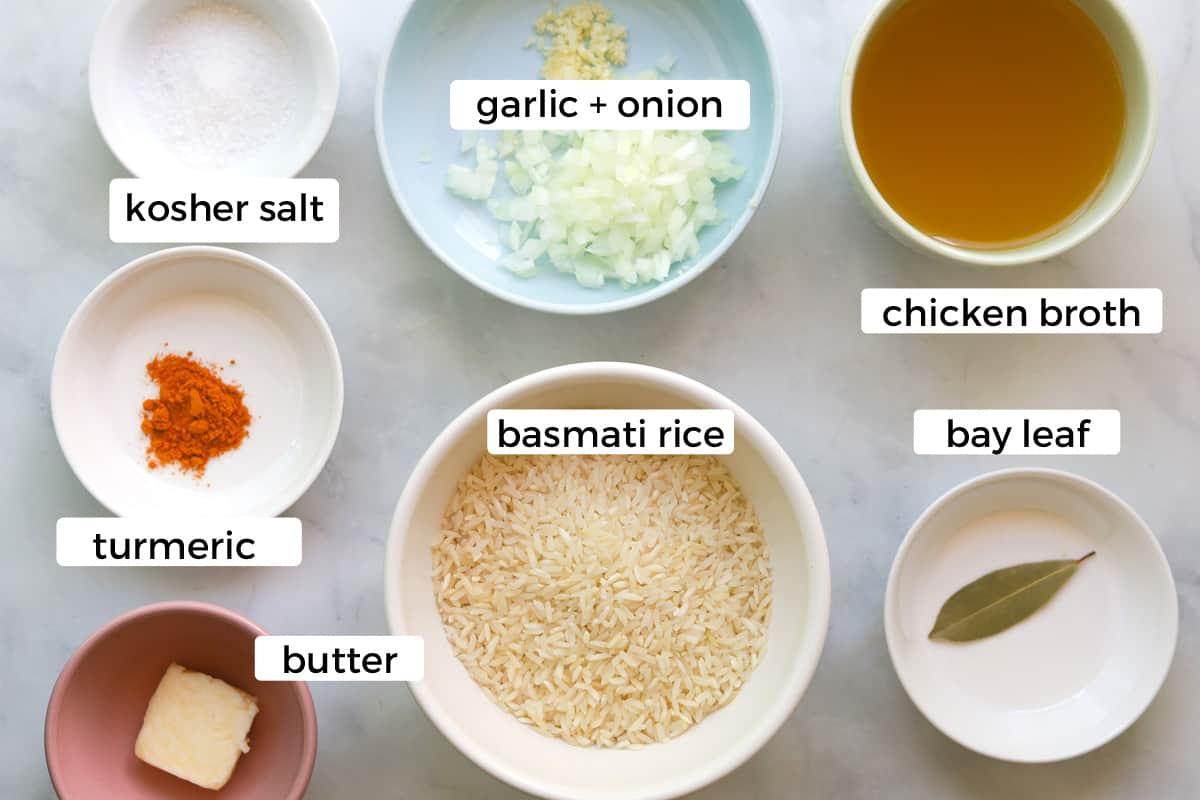 Ingredients to make turmeric rice.