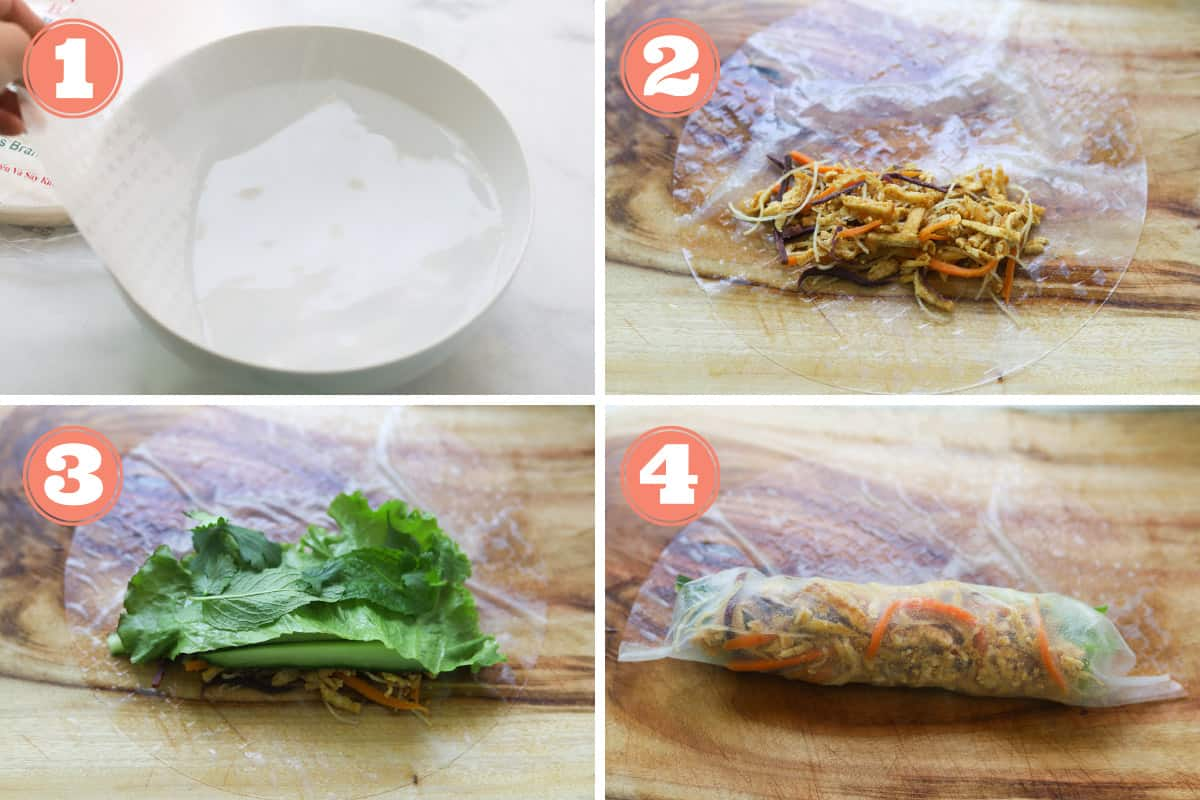 Images on how to wrap a goi bi cuon chay.