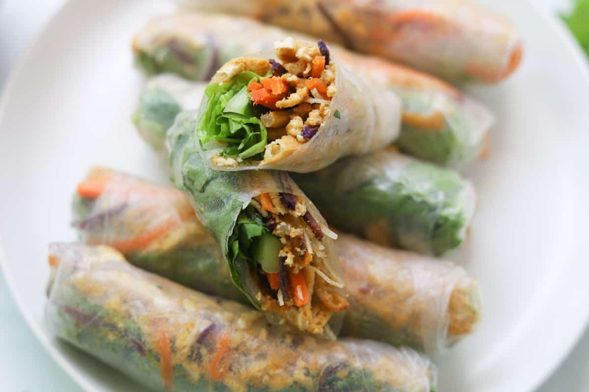 Bi Cuon vegetables spring rolls on a plate.