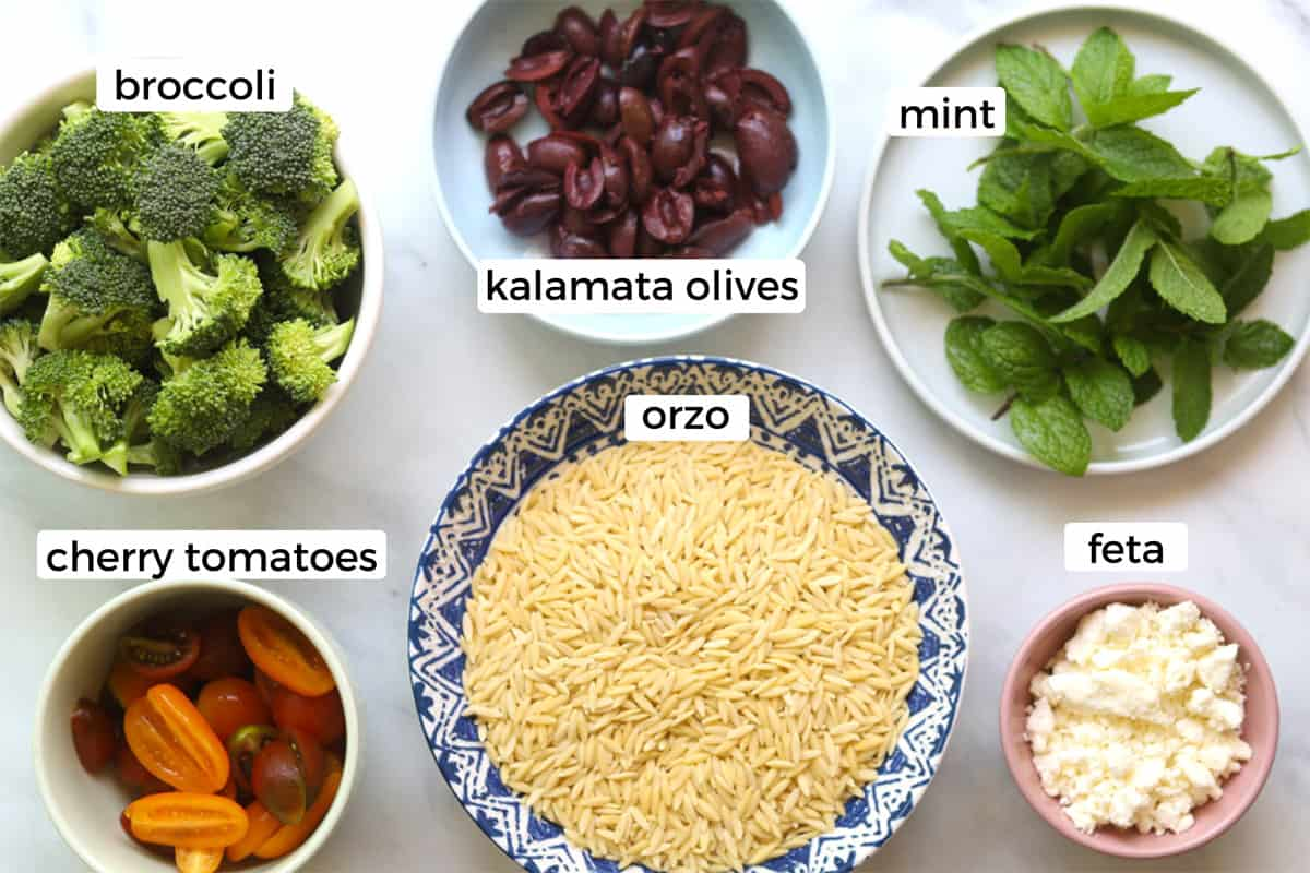 Ingredients for orzo broccoli pasta salad on a table.