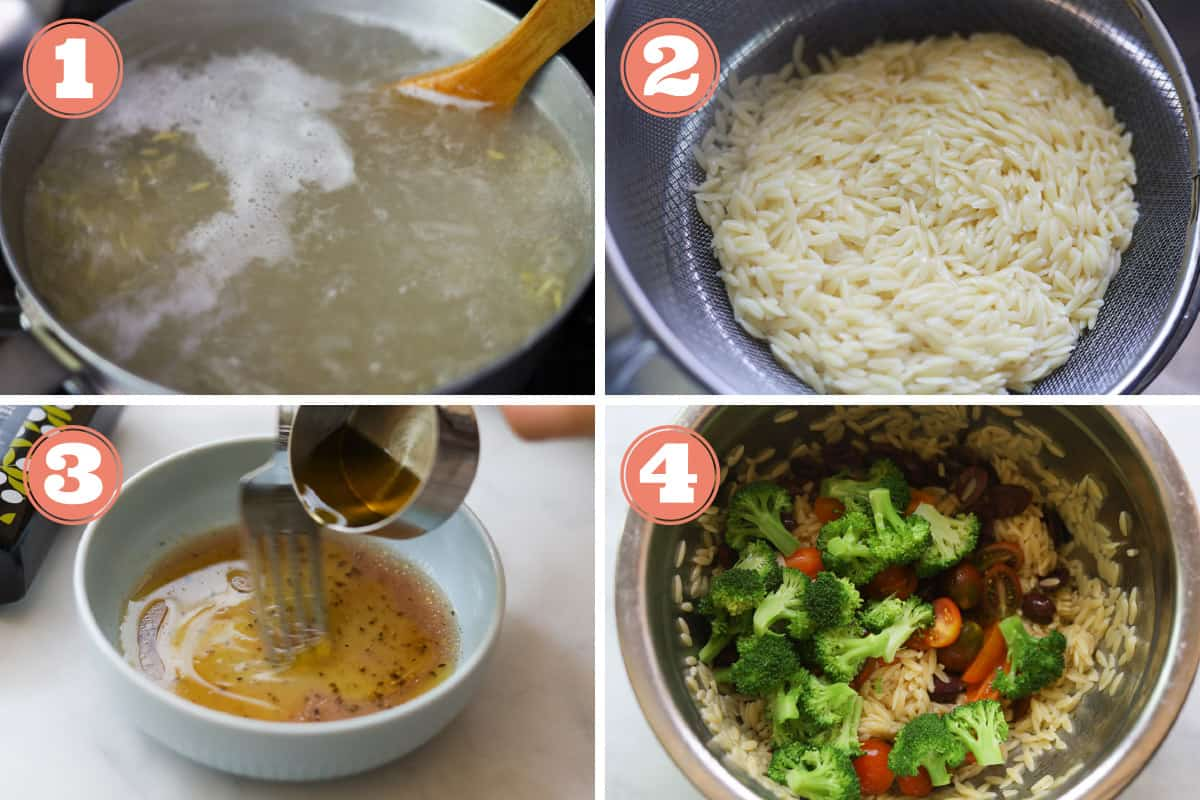 Steps on how to make orzo pasta salad.