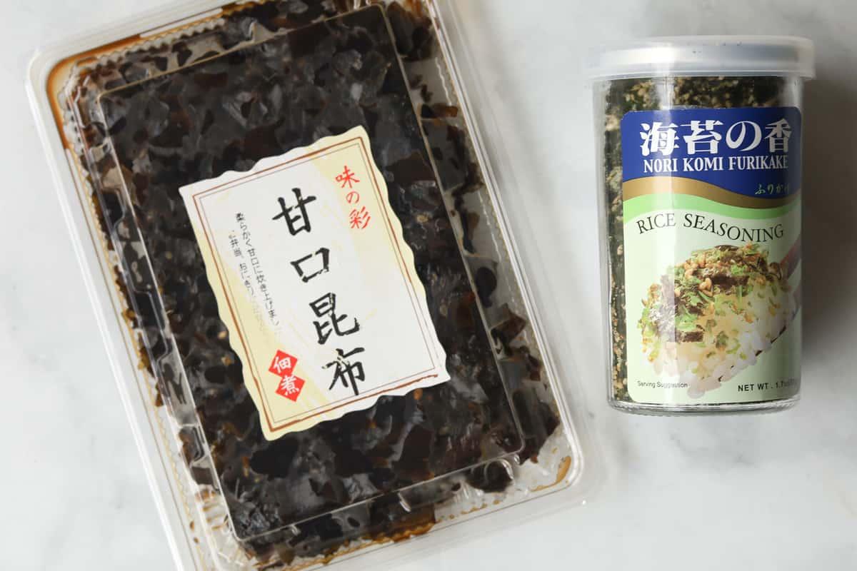 Image of packaged seasoned kombu and jar of furikake rice saesoning.
