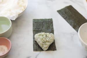 Rice Triangle on a seaweed sheet