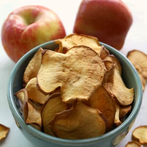 Apple chips in a bowl.