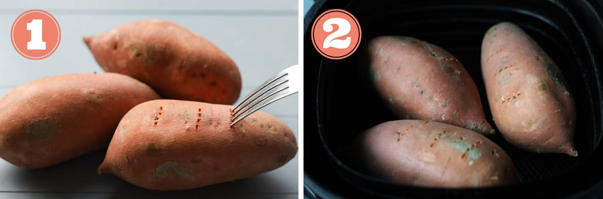 How to make roasted sweet potatoes in the air fryer.
