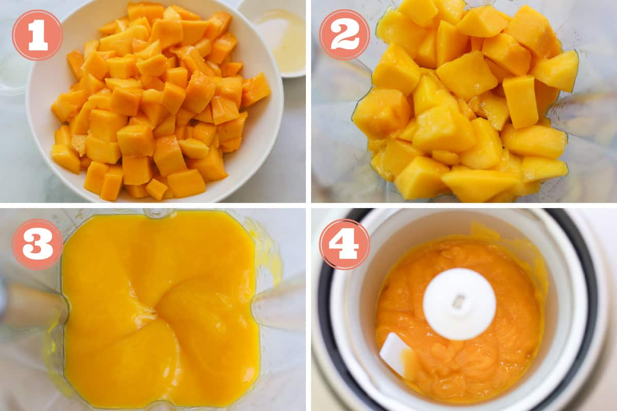 Images of how to make mango sorbet.