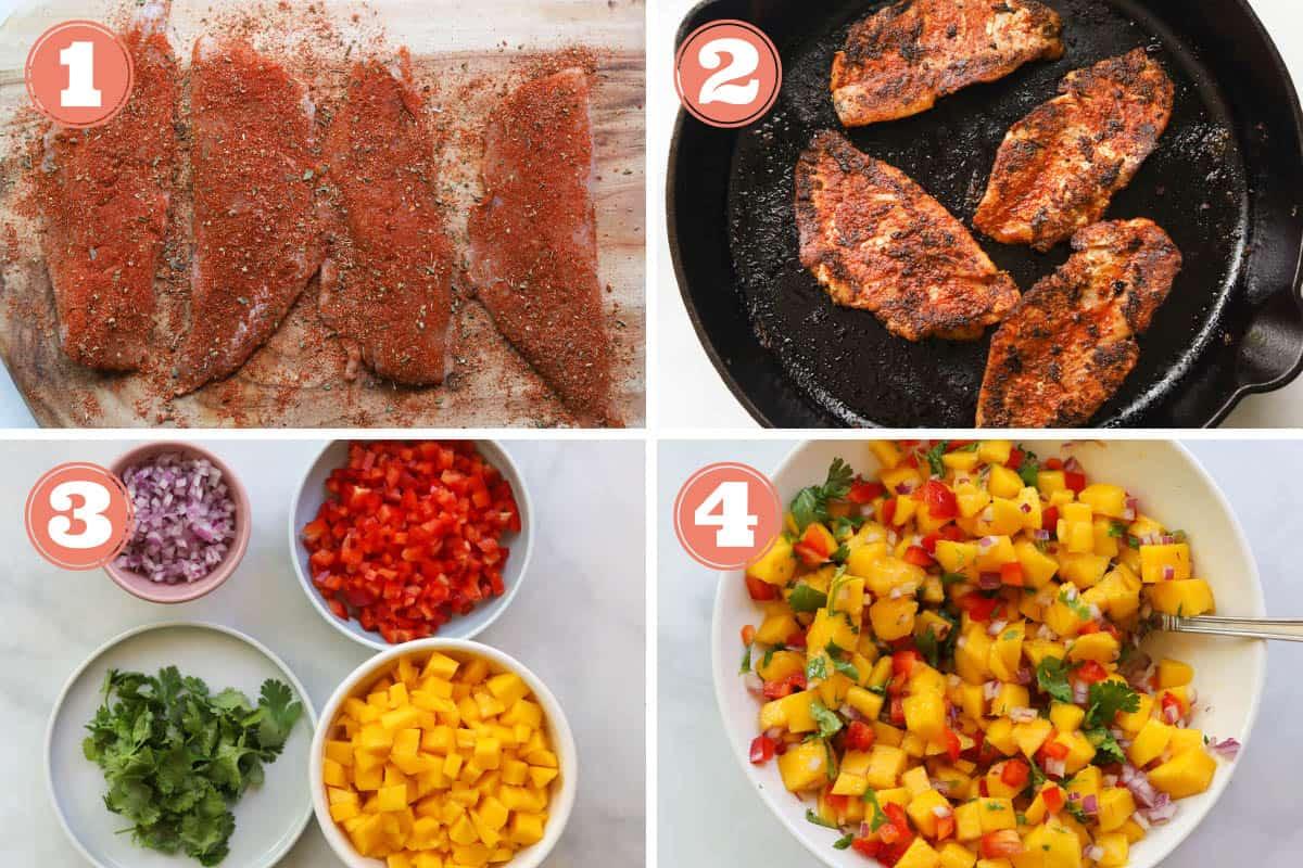 Images of how to make make rockfish and mango salsa.