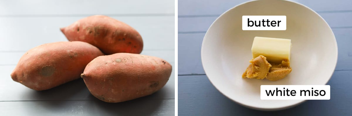 Sweet potatoes and butter with miso in a bowl.