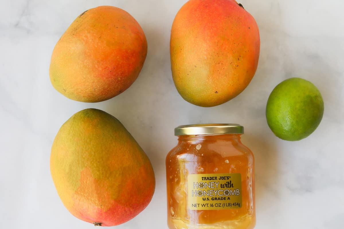 Ingredients for mango sorbet on a table.