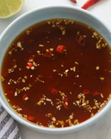 Close up image of vegan nuoc cham sauce.
