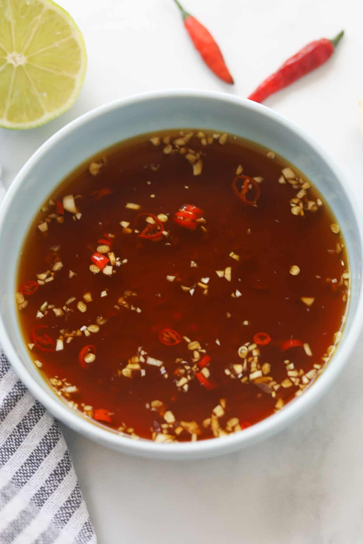 Vietnamese vegan nuoc cham chay sauce in a bowl.