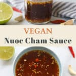 Top image of nuoc cham sauce in a jar. Bottom image nuoc cham chay sauce in a bowl.