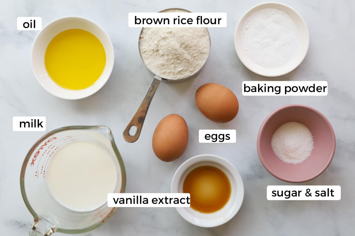 Ingredients to make brown rice flour pancakes on a table.